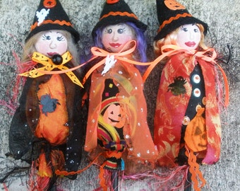 E-Pattern, LITTLE WITCHES Halloween Ornaments, Diy, instructions, kids craft, kids project, michelle munzone, puppets, home decor, diy witch