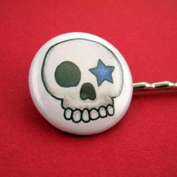 Skull Star 1 inch Bobby Pins