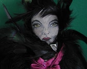 Raven Halloween Witch Ghoul Gothic Contemporary Folk Art Doll