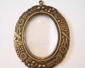 Brass Ox Frame with Oval glass for collage\/assemblage pendant