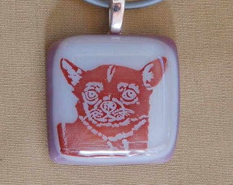 Chihuahua Dog Breed Jewelry Glass Necklace