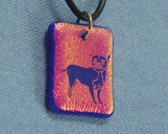 Little Chi  Chihuahua Orange Blue Dichroic Glass