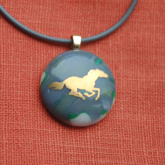 Running Horse Glass Necklace