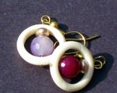 Purple and White Bone Ring Earrings