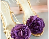 FREE SHIPPING Purple tulle fabric shoe clip flower - Zinnia style