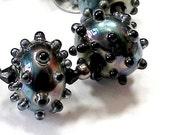 Serena - black lustrous lampwork hollows -  Tillerman Beads - SRA - BritLamp
