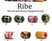 Set of 7 barrel/drum Viking beads from Ribe - handmade reproduction lampwork beads