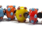 SALE - Hundreds and Thousands  No 4 - petite bumpy lampwork beads by Mike Poole - SRA - GJCTeam, British glass bead artist