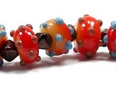 SALE - Hundreds and Thousands  No 6 - petite bumpy lampwork beads by Mike Poole - SRA - GJCTeam, British glass bead artist