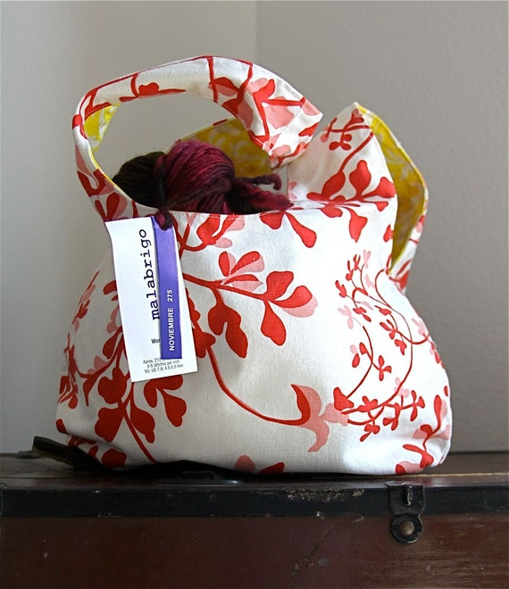 Project Pouch - Knitting Bag - Floral - Self Closing