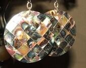 Large Abalone shell disk earrings