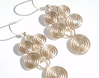 12K GF  Gold Fill Egyptian Scroll Swirl Dangle Earrings Handcrafted Metalwork Cleopatra