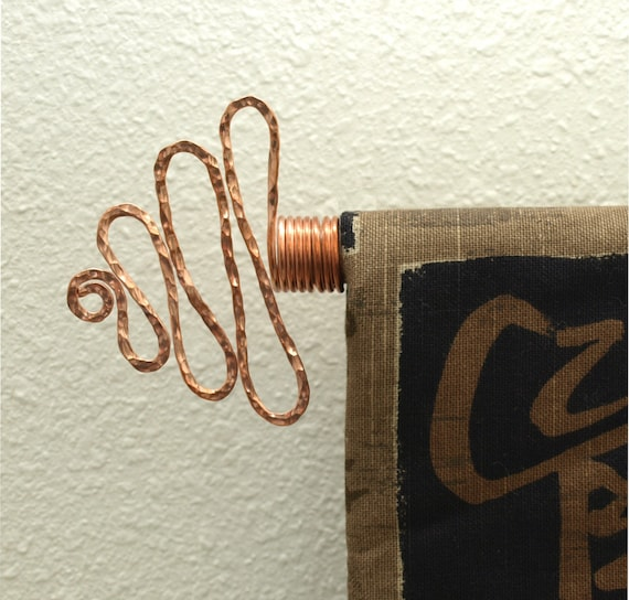 2 hammered solid copper curtain rod finials by twistsonwire