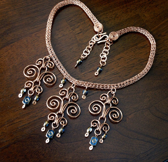 Copper Viking Knit Necklace With Blue Beads Handcrafted