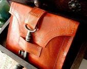 Genteel Leather Wallet with Antique Skeleton Key ... Blood Orange