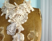 Crochet Lace Doily Scarf with Shabby Silk Ribbons - Talullah