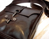 Brown Soft Leather Steampunk Messenger with Antique Key - Espresso - MADE TO ORDER