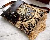 RESERVED for Holly - Leather Festival Granny Bag with Vintage Lace and Antique Key