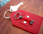 Red Leather Doorkeeper Key Fob with Antique Key - Red Pepper Keyring