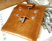 Mens Leather Wallet with Antique Skeleton Key - Weathered Cognac - Bifold Steamer Style LAST ONE