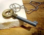 SALE - Vintage Skeleton Key Necklace - Brass and Steel Lifesaver Pendant