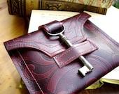 Damask Leather Wallet with Antique Skeleton Key...Antique Claret