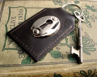 Brown Leather Key Fob with Keyhole and Skeleton Key - Espresso Leather Key Chain