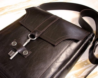 Brown Leather Messenger with Antique Key - Espresso Deluxe Steampunk Crossbody - MADE TO ORDER