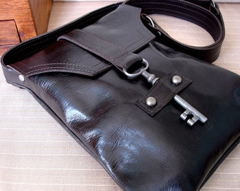 Brown Leather Messenger with Antique Skeleton Key - Espresso Steampunk Flat Style - MADE TO ORDER