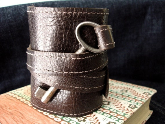 Tory Brown Leather Wrap Cuff with Antique Key ... Tonal