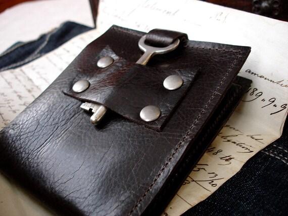Dark Brown Leather Wallet with Vintage Skeleton Key - Men's Espresso Steampunk Bifold