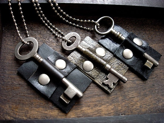 Vintage Key Necklace - Black Leather Dog Tag Necklace with Skeleton Key - Doorkeeper
