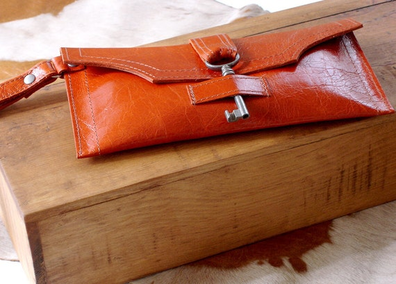 Orange Leather Wristlet with Antique Key - Blood Orange Steampunk Wrist Wallet Checkbook Wallet