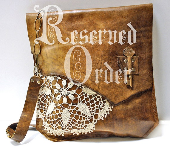 RESERVED for VANESSA H - XL Deluxe Boho Leather Messenger Bag with Crochet Doily and Antique Key - One Of A Kind