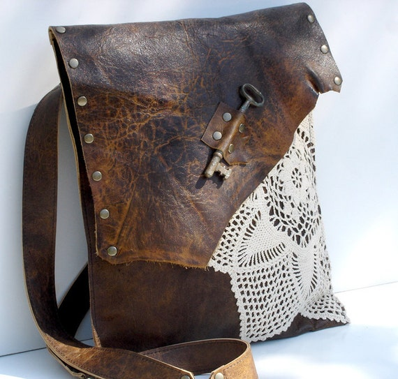 Leather Crochet Bag : Boho Leather Messenger Bag with Antique Key and Crochet - Large Deluxe ...