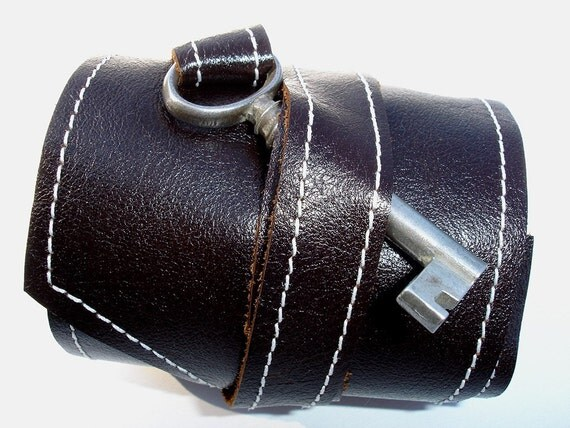 Tory Brown Leather Wrap Cuff with Antique Key