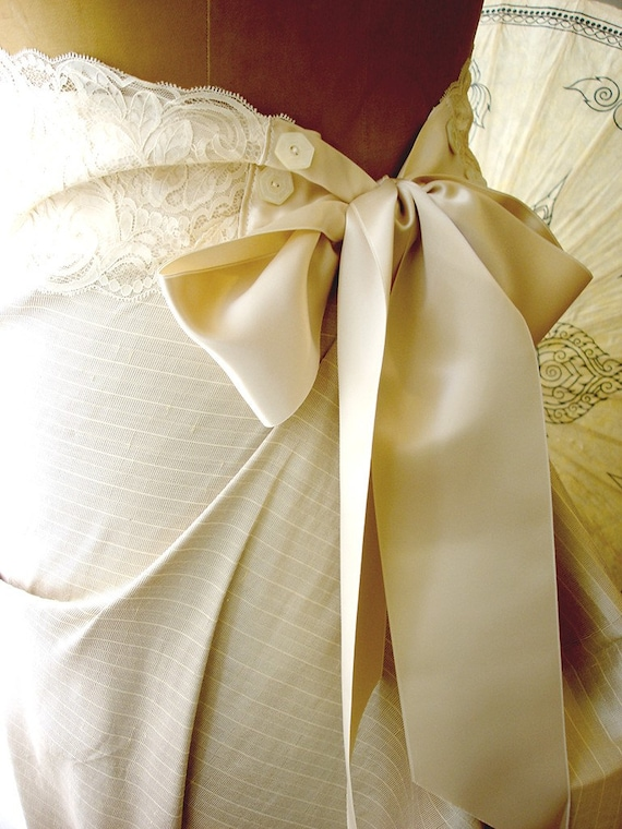 Something Borrowed...Adele Lace and Silk Satin Sash with Vintage Buttons - L, XL, One of a Kind