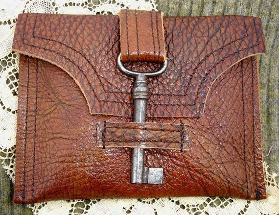 RESERVED for SHAZZASKNITS...Genteel Buffalo Patterned Leather Wallet with Antique Barrel Key
