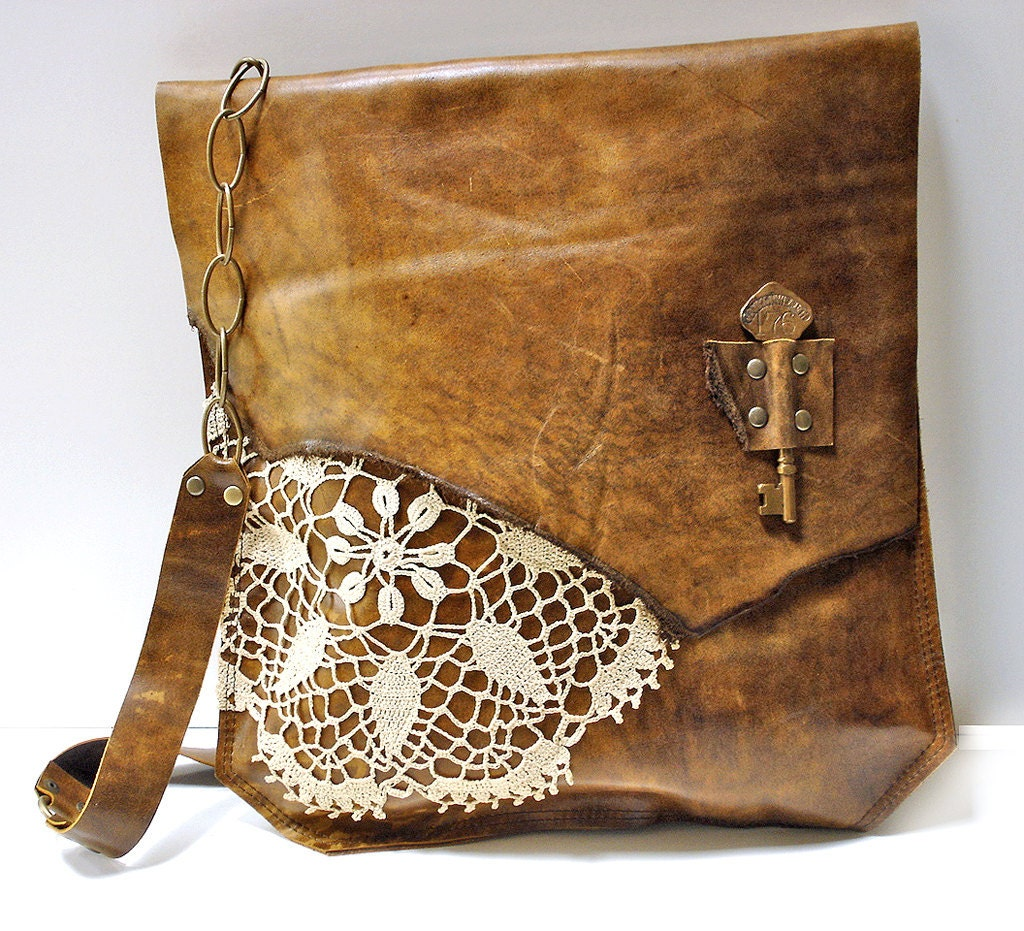 Leather Crochet Bag : XL Boho Leather Messenger Bag with Crochet Doily and Antique
