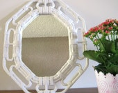 NOW ON SALE , Chinoiserie White Faux Bamboo Mirror , Vintage Upcycled Homco , Hollywood Regency