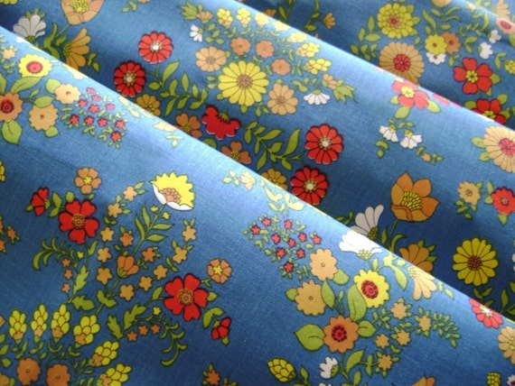 SALE Candy Colored Flowers on Blue , Vintage Cotton Fabric , Decorator Weight, 1 Yard