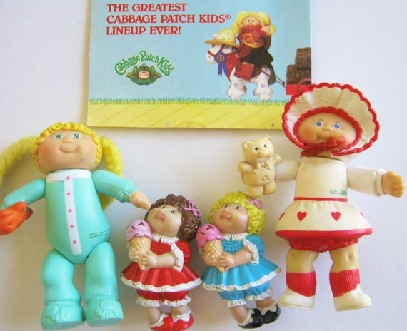 Vintage 80s Cabbage Patch Kids PVC Figures Lot and I.D. Pamplet Guide, Twins Ice Cream Girls Baby