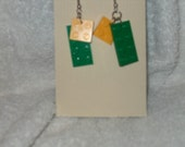 Green and Yellow Lego Earrings