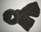 Hand Knit Hairy Brown and Tan Knitted Scarf (Item 0004)