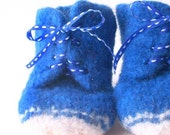 SALE felted high top baby shoes - bluebird - size 2, 3-6 months