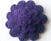purple chrysanthemum barrette - hand sewn felt hair clip