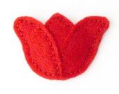 red tulip barrette - hand sewn felt hair clip