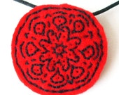 felt mandala pendant - hand embroidered - red and black