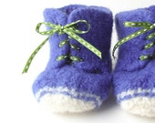 felted high top baby shoes - periwinkle - size 2, 3-6 months