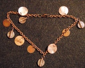 anklet copper charms, pink shells, with copper chain and lobster clasp